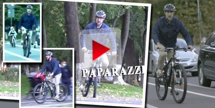 Siguranța înainte de toate! Șerban Pavlu și fiul său au ieșit la plimbare cu bicicletele, dar actorul nu l-a scăpat din ochi pe micuț / PAPARAZZI