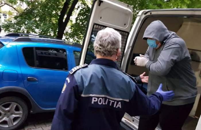Imagine cu unul dintre suspecti arestati