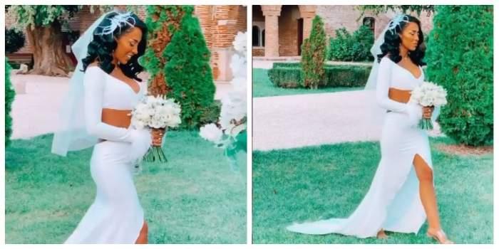Ruby poartă o rochie de mireasă albă. Vedeta ține în mână un buchet de flori.