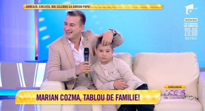 Marian Cozma și unul dintre copii.