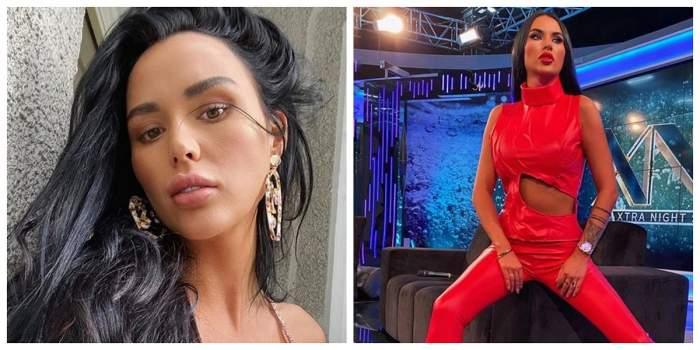 Un colaj cu Daniela Crudu. În prima fotografie e într-un selfie, iar în a doua poartă o salopetă roșie și se află la Xtra Night Show.
