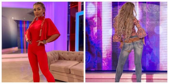 Colaj cu Bianca Rus îmbrăcată în roși și Bianca Rus în pantaloni tăiați în zona fundului.