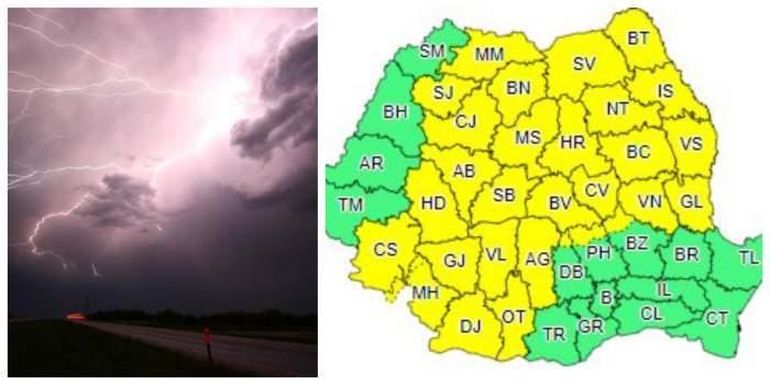 Colaj cu ploaie și județe afectate din România.