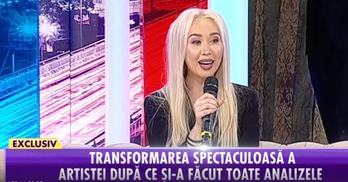 "Fotografie cu Xonia în platoul emisiunii ""Showbiz Report"""