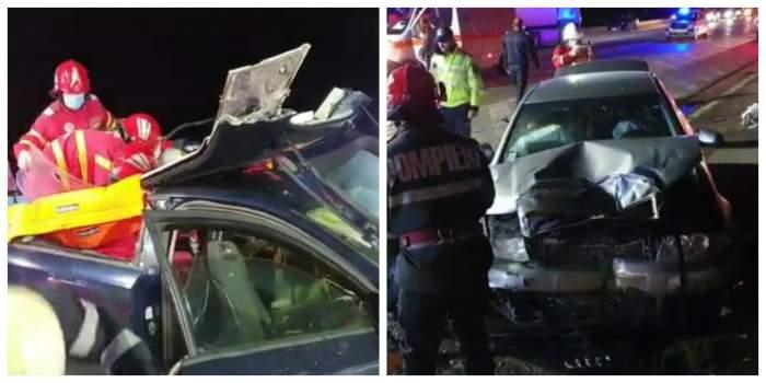 colaj cu mașina din accident și medicii.