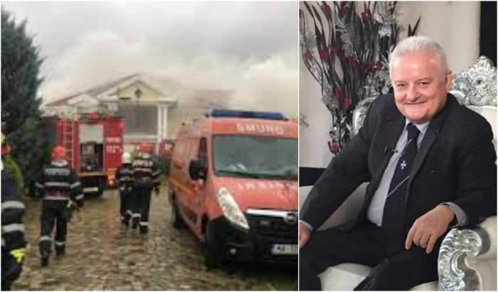 Colaj foto cu Irinel Columbeanu și intervenția pompierilor la vila din Izvorani