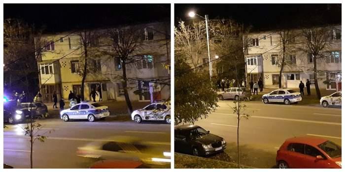 Imagini cu mașini de poliție și oameni ai legii din fața apartamentului în care au fost sechestrate două tinere, în Iași