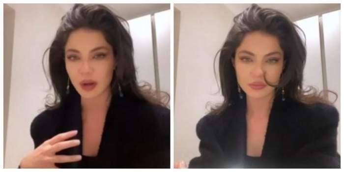 Cristina Ich plânge. Vedeta are părul desprins și poartă un sacou negru.