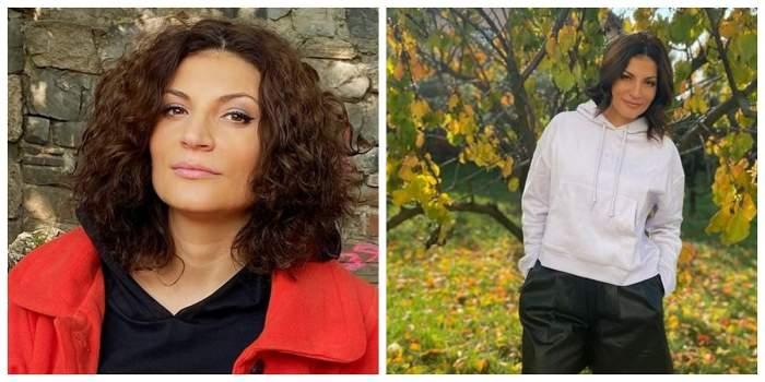 Un colaj cu Ioana Ginghină. Artista se află în natură. În prima poză poartă o geacă roșie, iar în cealaltă un hanorac alb.