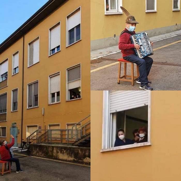 Gestul impresionant al unui bătrânel din Italia pentru soția sa internată în spital! I-a cântat serenade din stradă/ FOTO