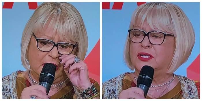 Mirela Daur e la o emisiune tv. Artista ținte microfonul în mână și are ochii înlăcrimați