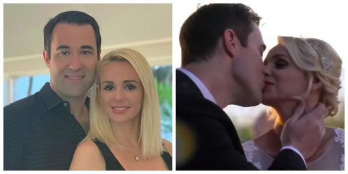 Un colaj cu Catrinel Sandu și soțul ei, Steve. Vedeta le-a arătat fanilor o fotografie de la nuntă, când ea și partenerul ei se sărută.