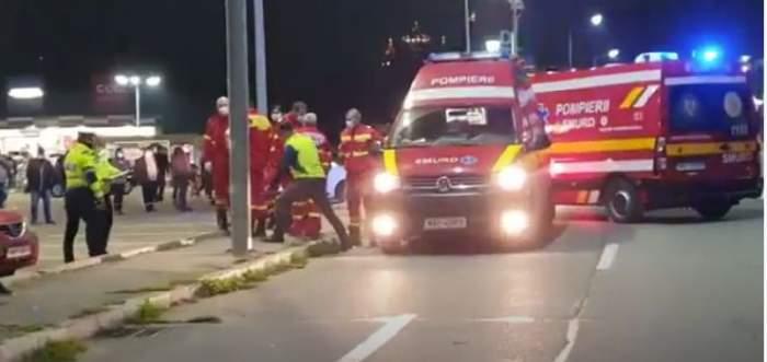 Imagini de la locul accidentului din Mioveni. Salvări și polițiști în prim-plan