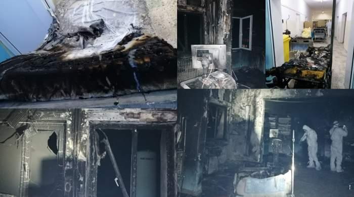Primele imagini de la tragedia din Piatra Neamț! Cum arată salonul de la ATI, după incendiul din această seară! Totul e făcut scrum!