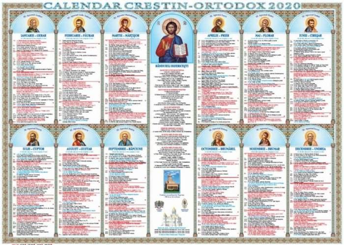 Calendar ortodox 2020.