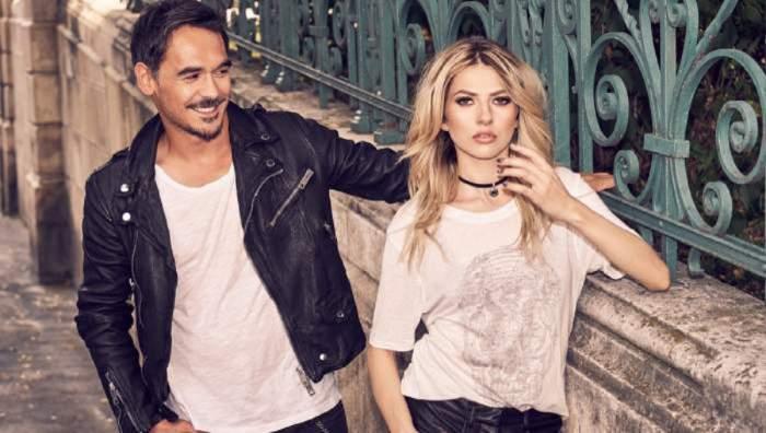 Lidia Buble și Răzvan Simion când erau împreună. Amândoi poartă tricouri albe.