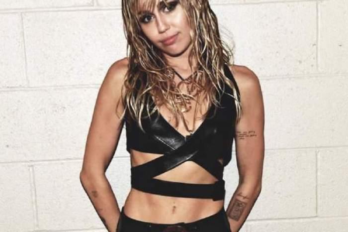 Miley Cyrus în piele neagră