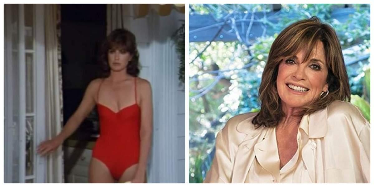 """Un colaj cu o imagine cu Linda Gray de când juca în serialul """"Dallas"""" și o fotografie din prezent."""