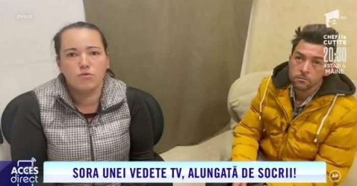 """Georgeta și Marius, surprinși în timp ce dau un interviu la """"Acces Direct"""""""