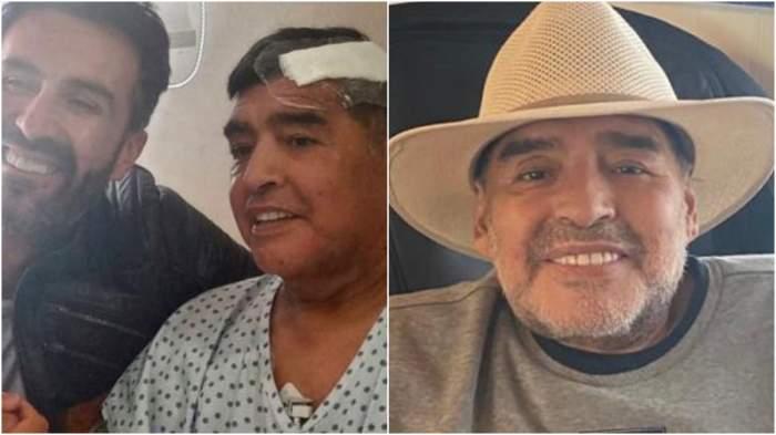 Colaj cu Maradona după operație, pe vremea în care traia.