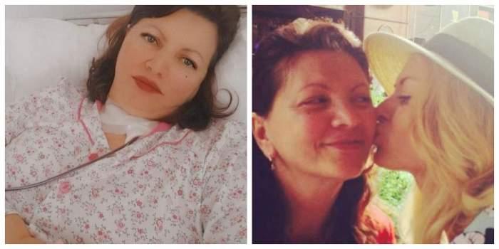 Un colaj cu mama Gina Matache și Delia. În prima poză, mama artistei se află patul de spital, iar în cea de-a doua Delia își pupă mama pe obraz.