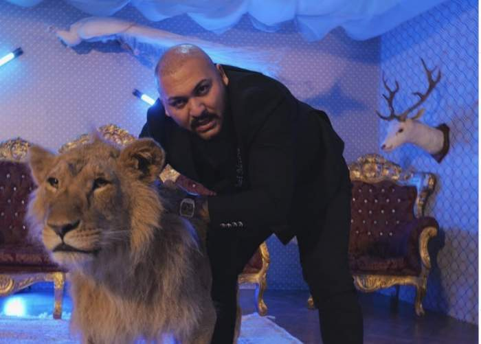 Dani Mocau și leul rănit, în timpul filmărilor pentru videoclip