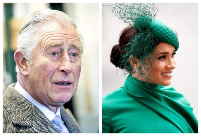 Printul Charles poarta costum cu cravata, Meghan Markle poarta o tinuta cu valarie verde