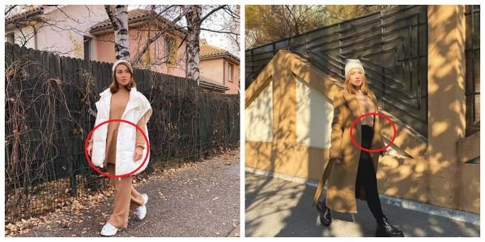Un colaj cu Nicoleta Nucă. Artista este pe stradă și este îmbrăcată cu haine largi.