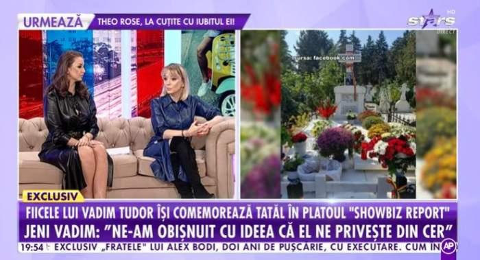 """Fiicele lui Vadim în platou la """"Showbiz Report""""."""