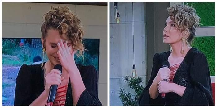 Anna Lesko își ține mâna la ochi și plânge. Artista este la o emisiune de televiziune.