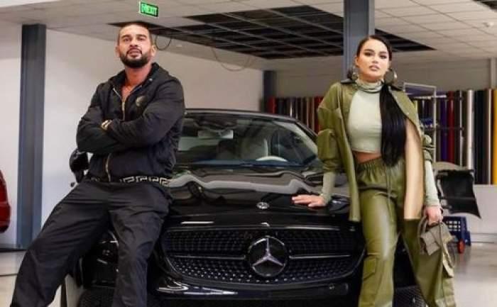 Dorian Popa și Babs s-au fotografiat pe capota mașinii
