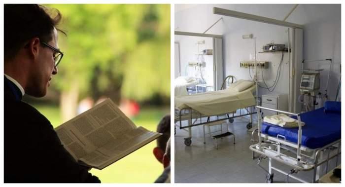 Imagine cu un calugar in timp ce citeste din carte si o imagine cu un salon cu paturi goale de spital