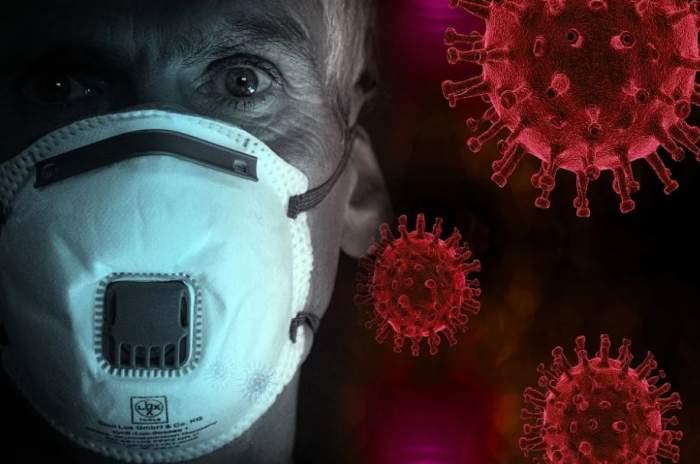 Fotografie cu un bărbat ce poartă masca de protecție și semnul virusului COVID-19
