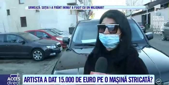 Ramona de la Clejani în fața mașinii