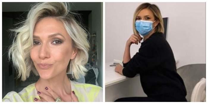 Un colaj cu Adela Popescu. În prima imagine e într-un selfie, iar în a doua la cabinetul medicului ginecolog.