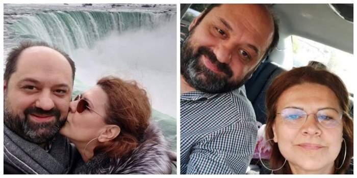 Un colaj cu Maria Buză și George Pătrașcu. În prima poză artista îl sărută pe obraz, iar în cealaltă ambii se află în mașină