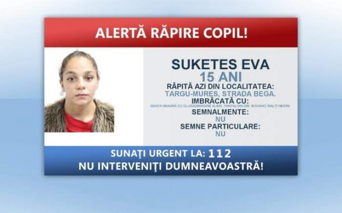 Fata de 15 ani dată dispărută