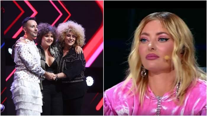 Colaj cu concurenții Deliei pe scena X Factor/ Delia, cu ochii în lacrimi.