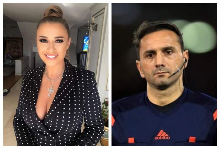 Anamaria Pordan poarta un sacou decoltat negru si are parul prins, Sebastian Coltescu este pe terenul de fotbal, arbitreaza