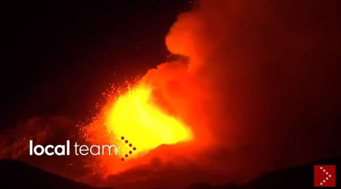Erupție spectaculoasă a celui mai activ vulcan din lume! Imagini inedite cu Muntele Etna, din Italia / VIDEO