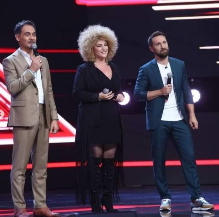 Sonia Mosca alături de Răzvan și Dani pe scena X Factor.