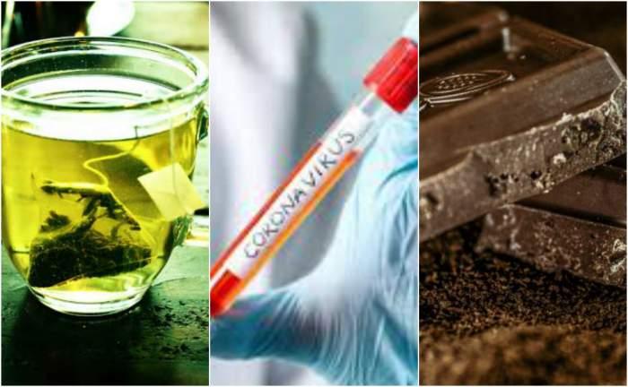 Colaj foto cu o cană de ceai, ciocolată neagră și o seringă pe care scrie coronavirus