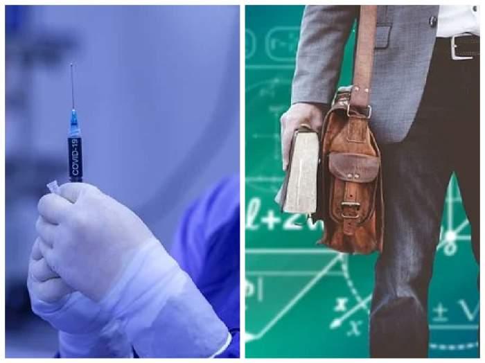 colaj cu profesor și vaccin