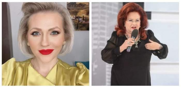 Un colaj cu Mirela Vaida și Stela Popescu. Prezentatoarea își face un selfie, iar regretata artistă vorbea la microfon.