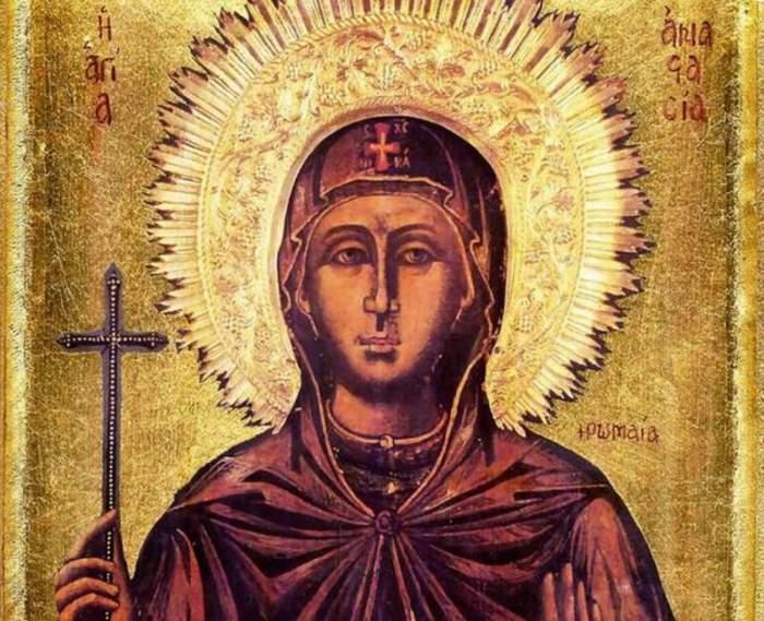 O icoană cu Sfânta Muceniță Anastasia Romana.