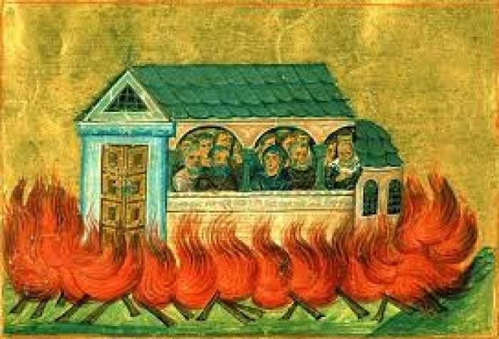 Icoană cu Sfinţii 20.000 de Mucenici arşi în Nicomidia.