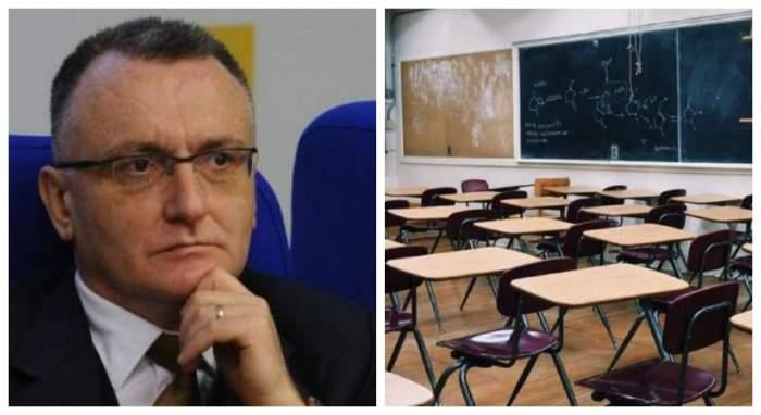 Sorin Cimpeanu sta pe un scaun albastru si iti tine mana pe barbie, in dreapta este o imagine cu o sala de clasa goala