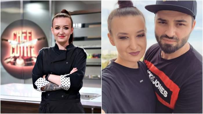 Colaj cu Roxana Blenche din bucătăria Chefi la cutite/ Roxana Blenche cu iubitul său.