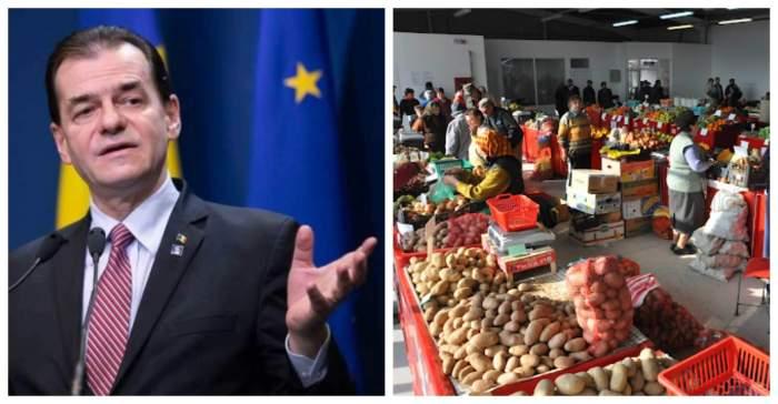 Colaj foto cu Ludovic Orban și o imagine dintr-o piață