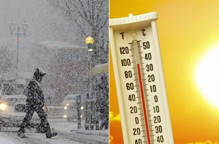 Colaj foto cu un soare și un termometru și un o persoană care traversează strada, pe ninsoare
